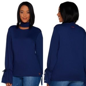 Peace Love World French Terry Top Tie Bell Sleeves